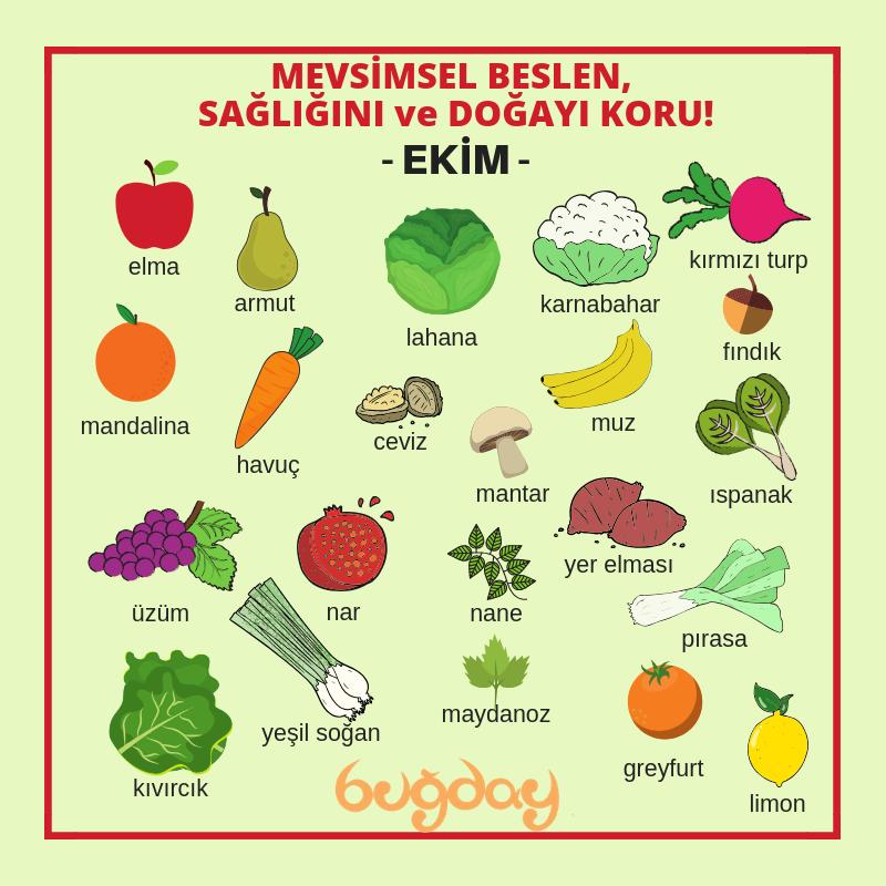 Ekim ayı meyve ve sebzeleri